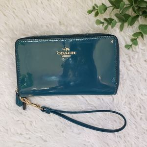 Coach New York Teal Key Chain Wallet